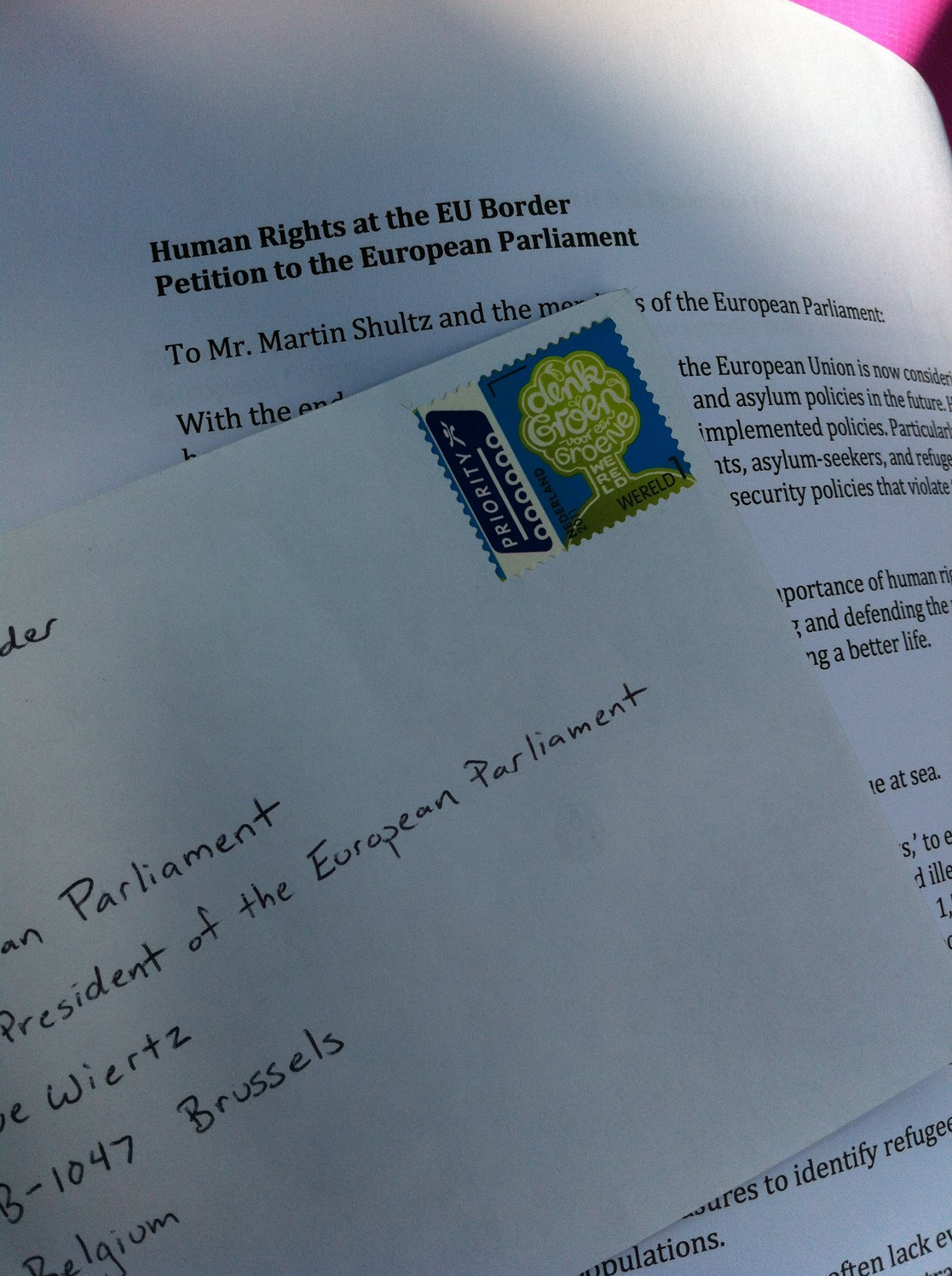 The petition to the European Parliament, ready to be mailed to Brussels.