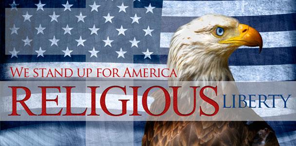 Flag, cross, eagle - the trinity of freedom.