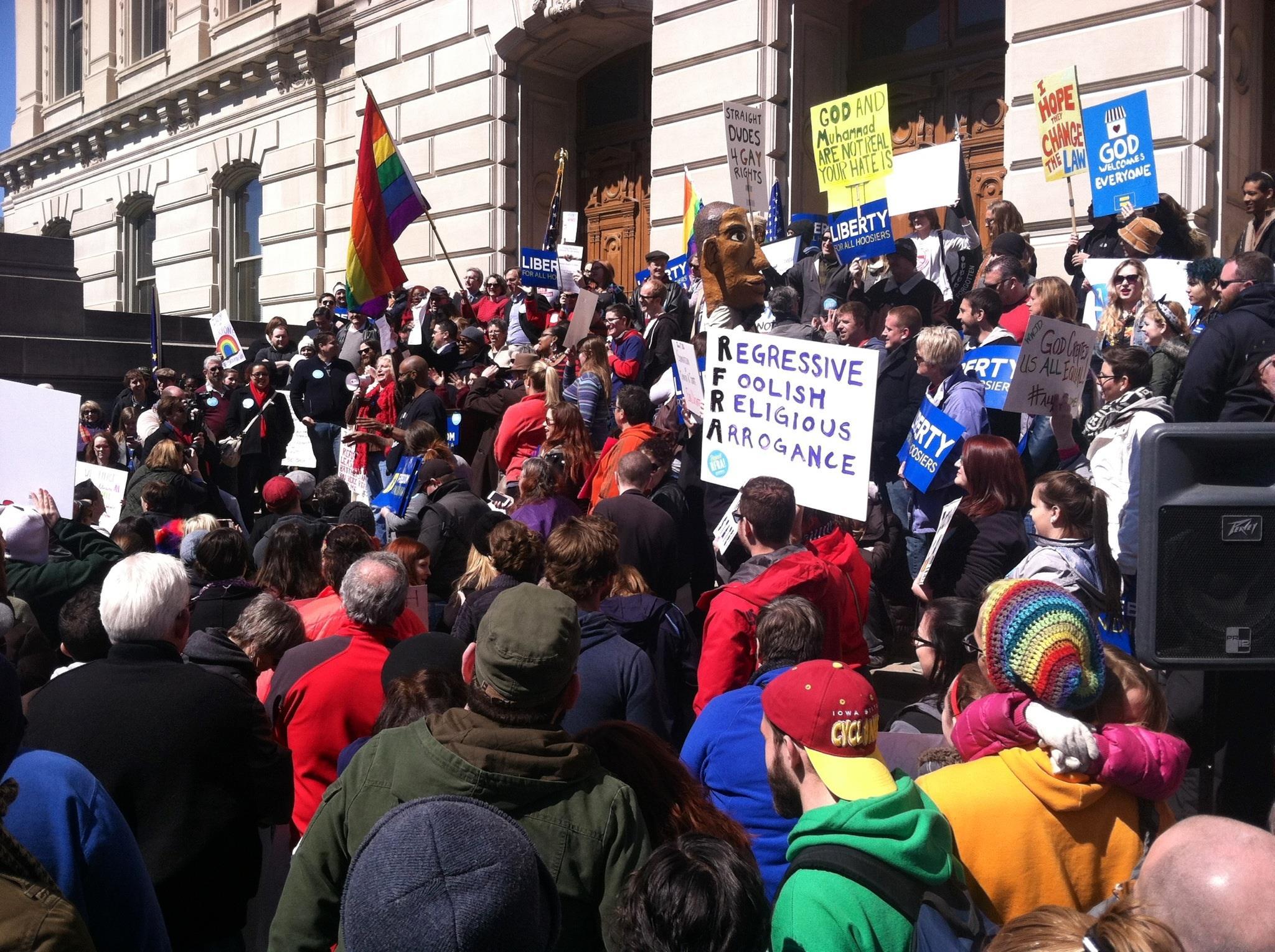 Protestors opposing Indiana's RFRA