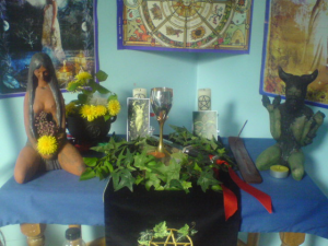 A Wiccan altar for Beltane, covered in objects that Etsy is no longer sure it wants to sell you.